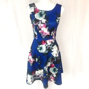 Cynthia Rowley blue floral fit and flare dress